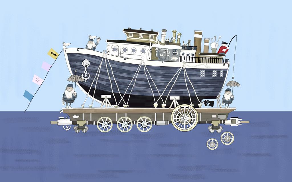 手绘壁画卡通船