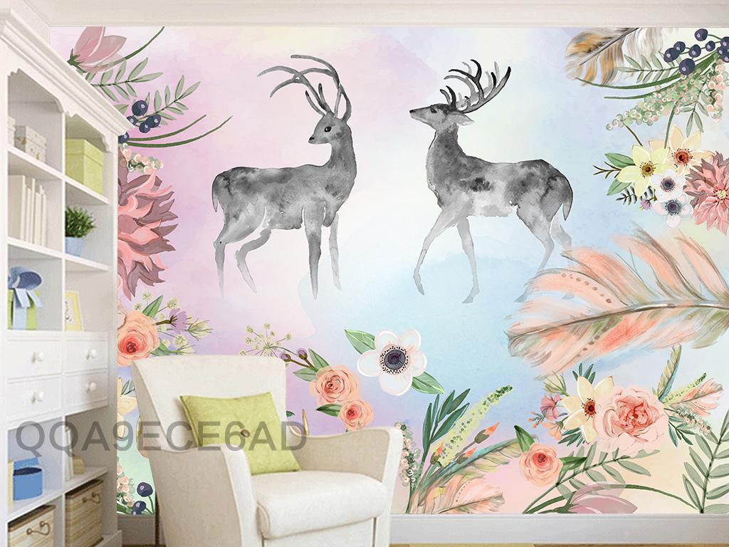 麋鹿鹿头水彩画手绘梅花鹿太阳花森系梦幻北欧艺术电视背景墙图片玻璃