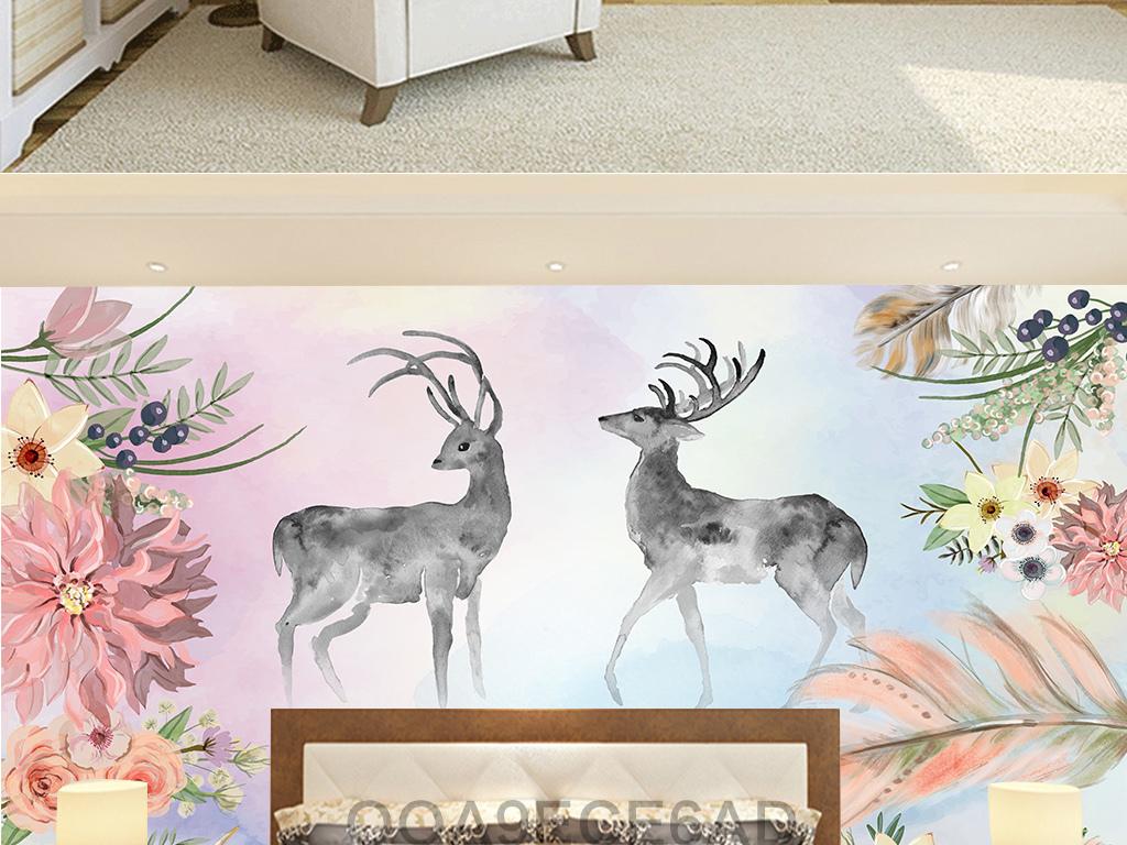 麋鹿鹿头水彩画手绘梅花鹿太阳花森系梦幻北欧艺术