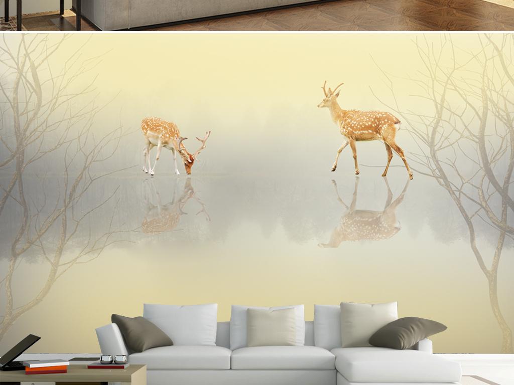 现代简约鹿林枯树背景墙装饰画