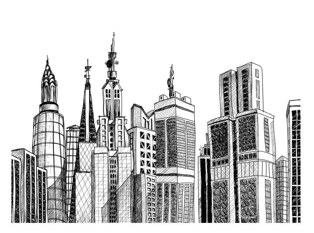 黑白手绘城市建筑图片设计素材 高清模板下载 2.32MB 抽象图案无框画图片
