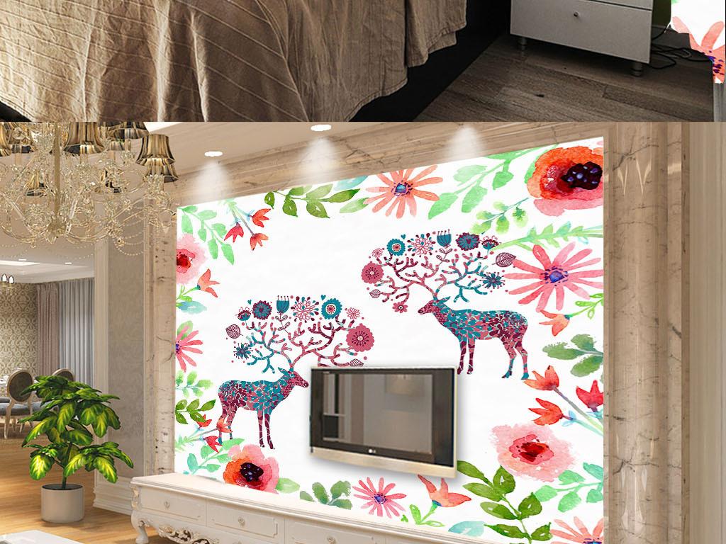 设计作品简介: 手绘麋鹿北欧风格复古怀旧背景墙纸壁画 矢量图, cmyk图片