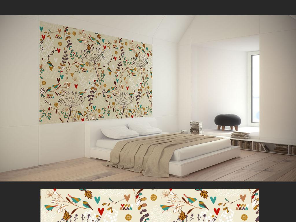 欧式手绘花鸟现代简约风墙纸