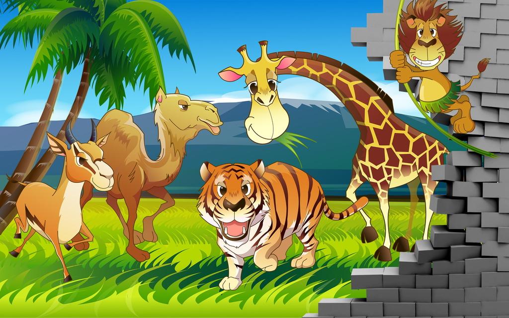 3d手绘游乐园卡通动物世界儿童房背景墙