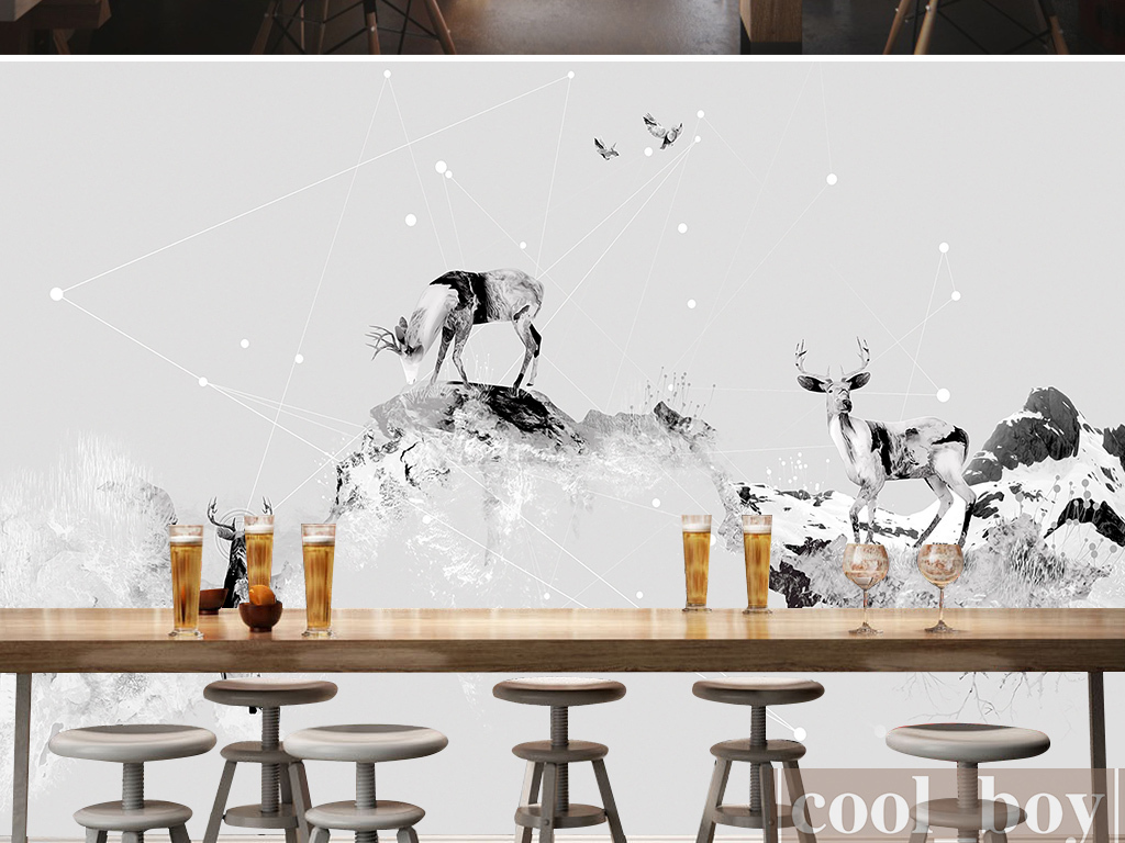 个性壁画创意背景墙鹿动物黑白