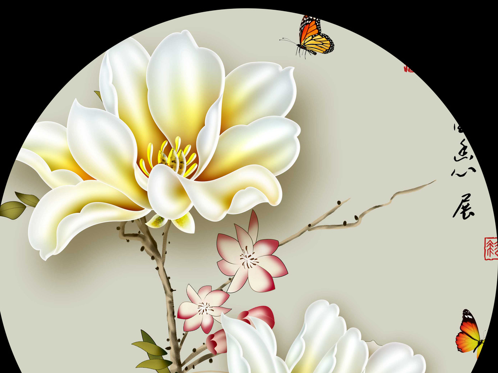 手绘工笔玉兰花玄关(超高清)(图片编号:15071261)_图