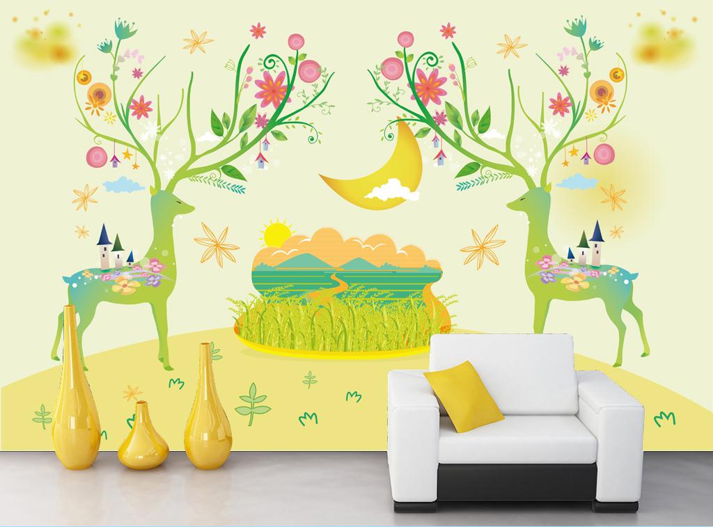 手绘小鹿插画清新唯美花纹线条图案背景墙