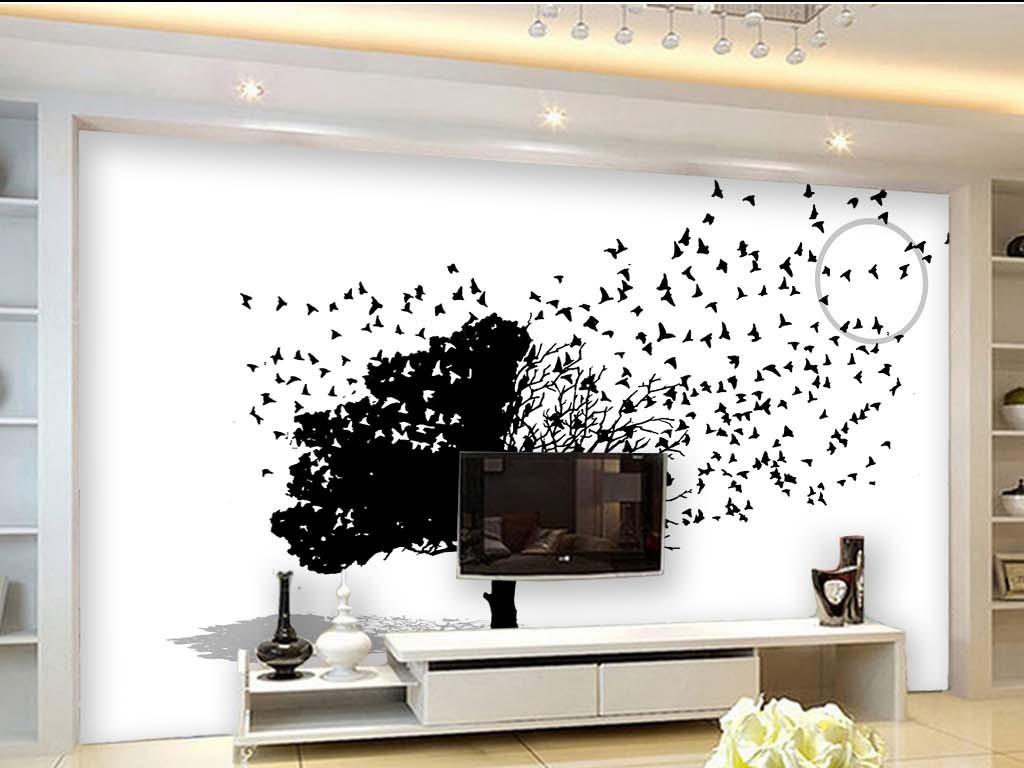 黑白画抽象树剪影现代简约手绘电视背景墙图片玻璃