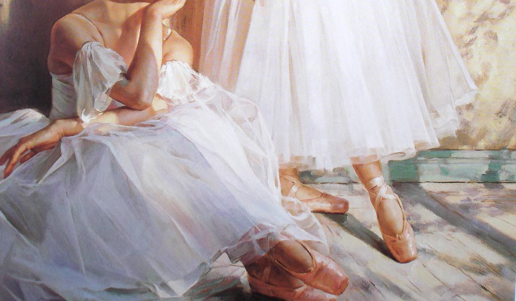 芭蕾舞女孩油画舞蹈教室装饰画