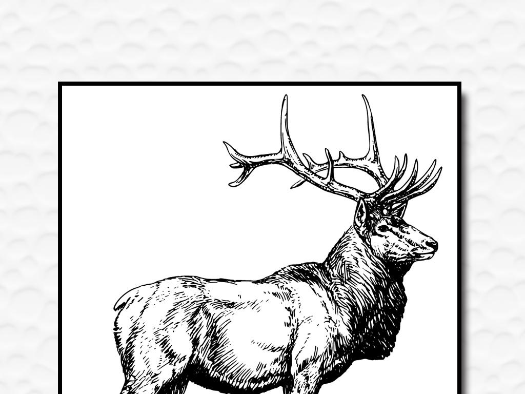 手绘黑白麋鹿公鹿矢量现代欧美家居装饰画高清图片下载 图片编号