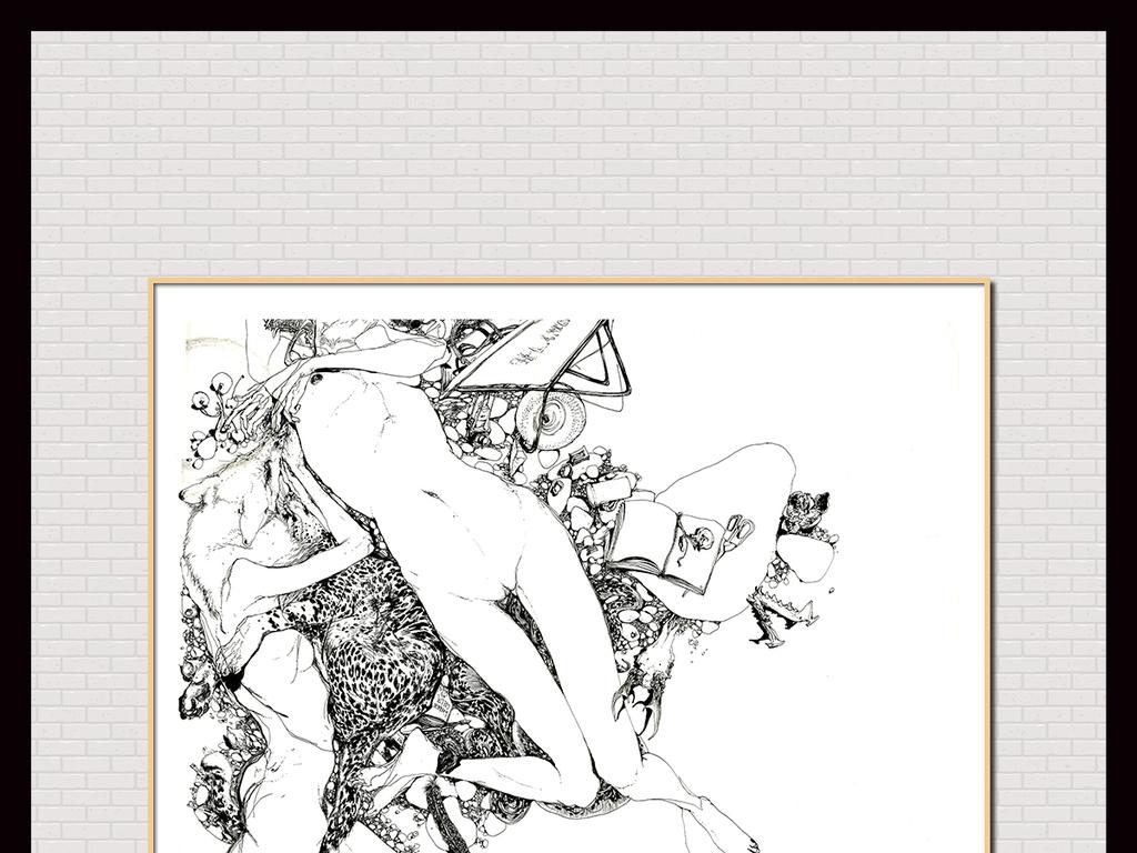 手绘美女性感插画