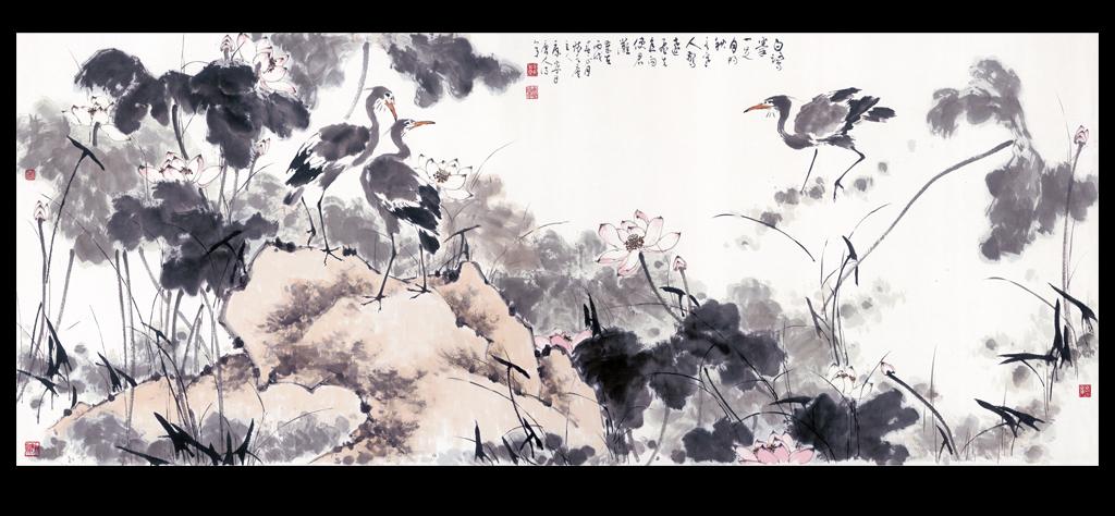 超高清手绘国画水墨黑白中国风装饰画背景墙