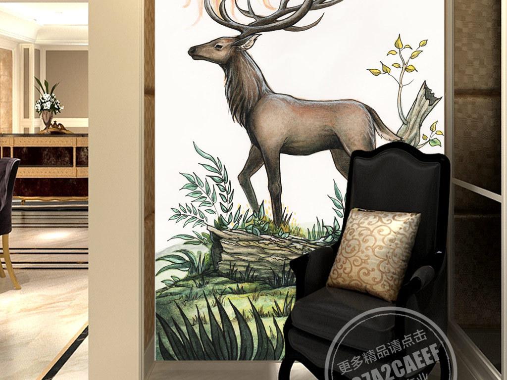 欧式创意手绘麋鹿太阳无框画(图片编号:15073547)