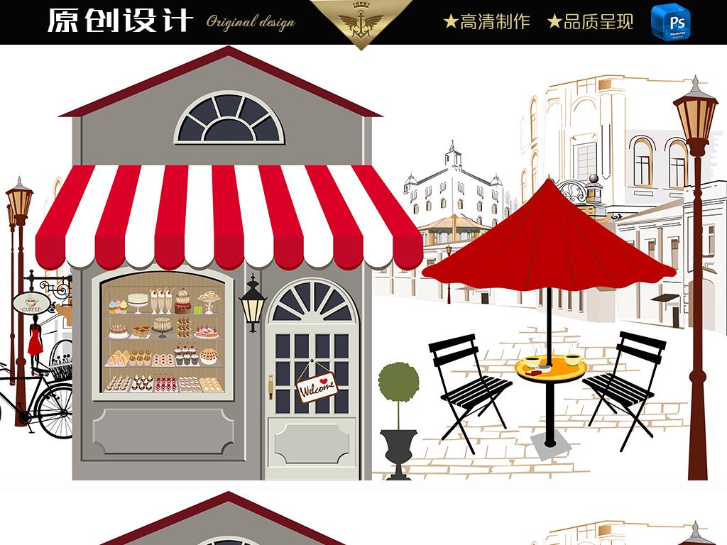 蛋糕店背景墙甜品屋背景手绘蛋糕风景街道咖啡屋风景