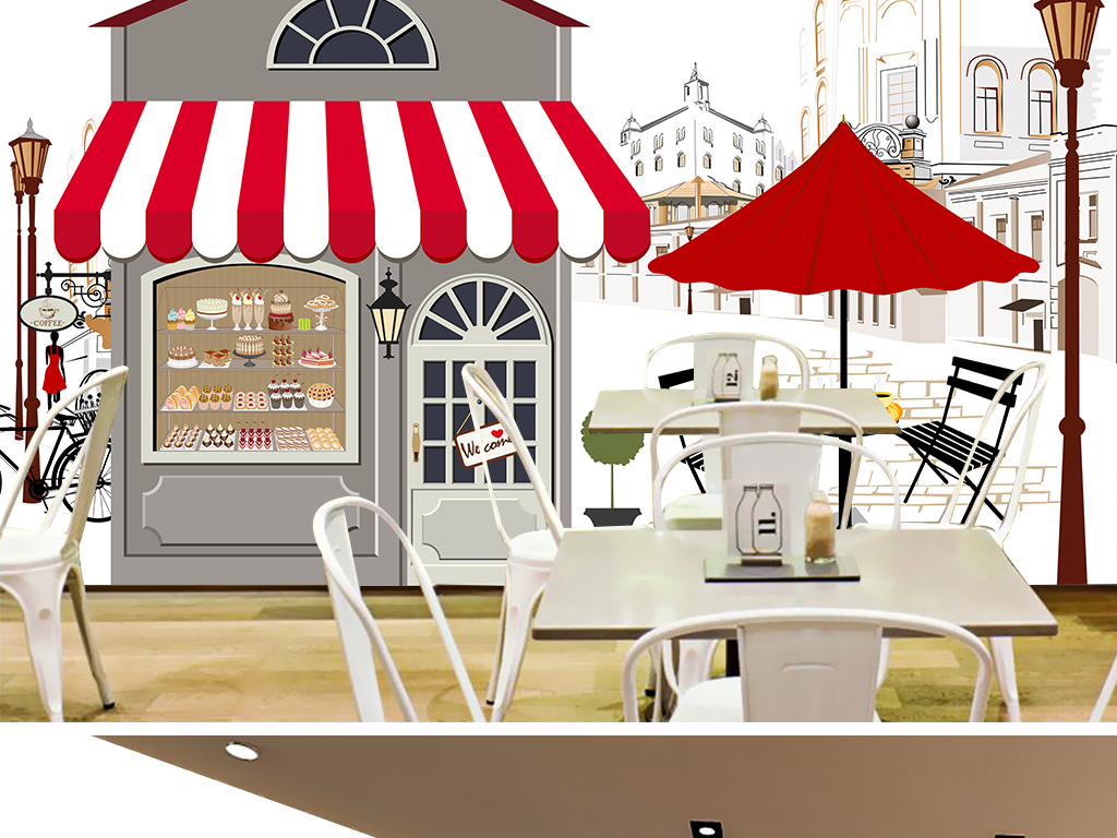设计作品简介: 清新手绘咖啡屋风景背景墙 位图, rgb格式高清大图