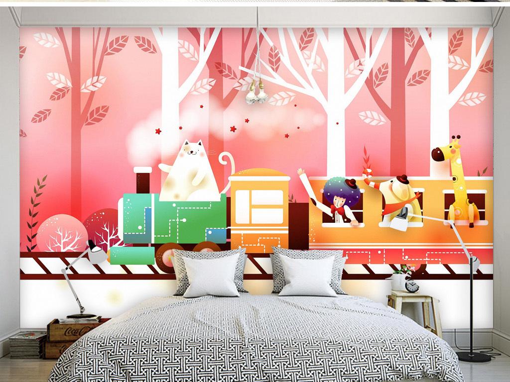 手绘动漫卡通可爱小火车粉红色儿童房背景墙