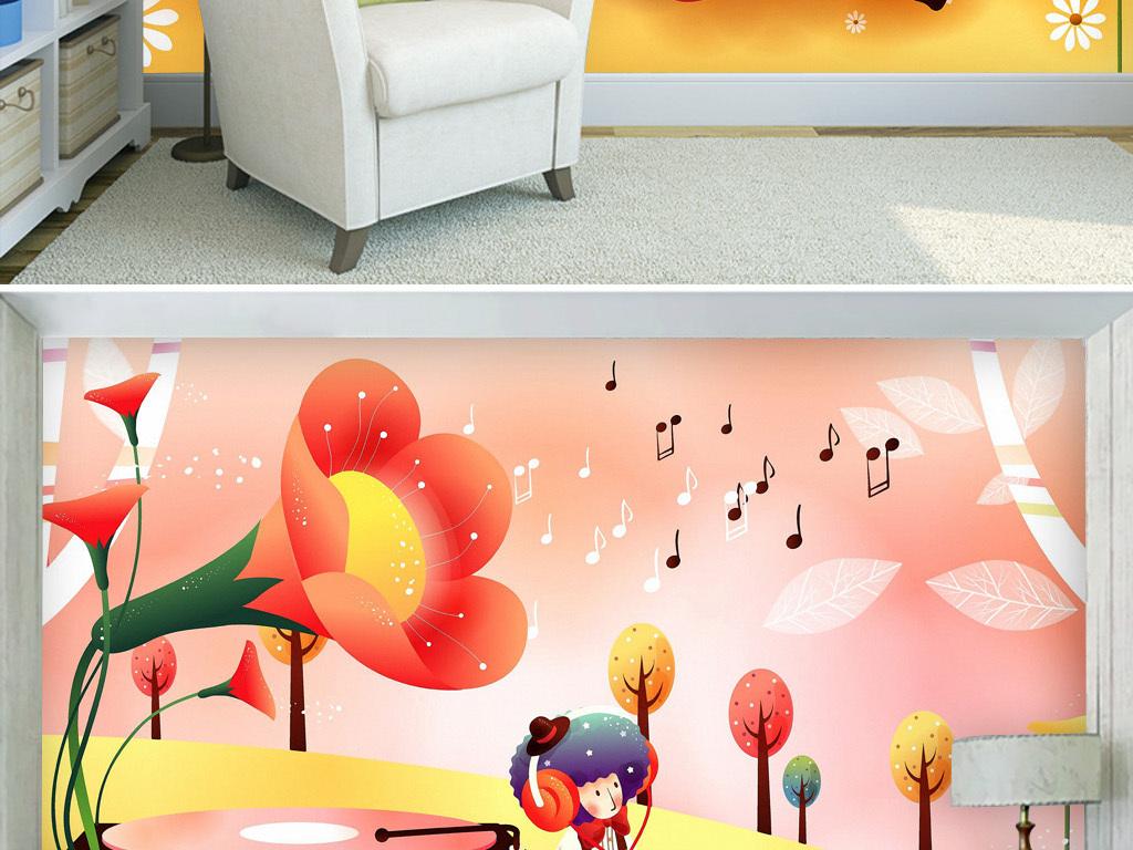 大喇叭留声机手绘动漫卡通可爱儿童房背景墙