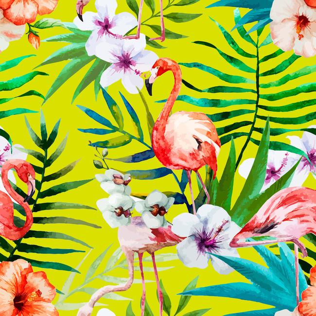 手绘水彩热带花鸟矢量纺织品印花图案设计图片_高清