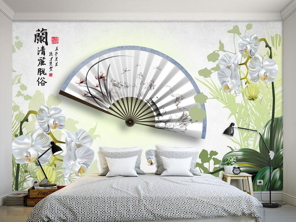兰花折扇3d电视背景墙沙发背景墙