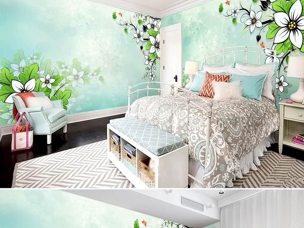 小清新现代简约手绘绿色小花枝条电视背景墙
