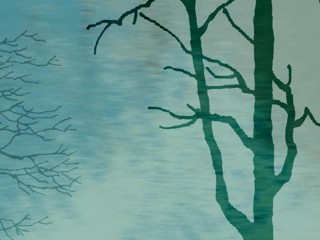 小清新手绘树林森系现代简约电视背景墙