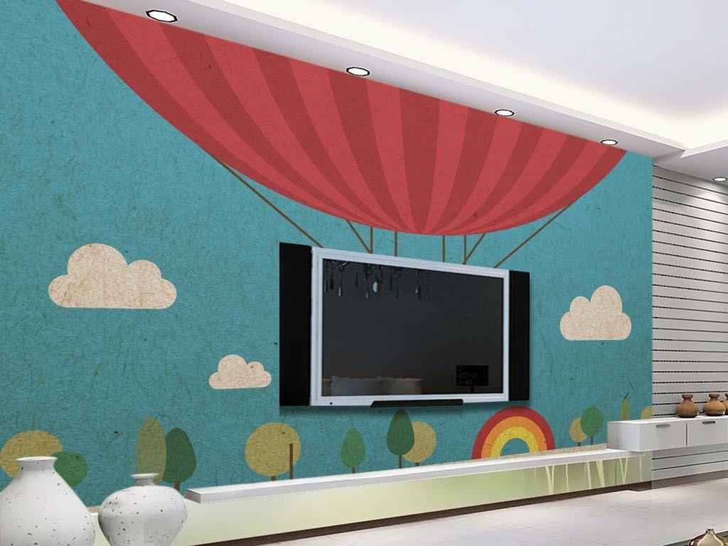 小清新现代简约手绘热气球小云朵电视背景墙