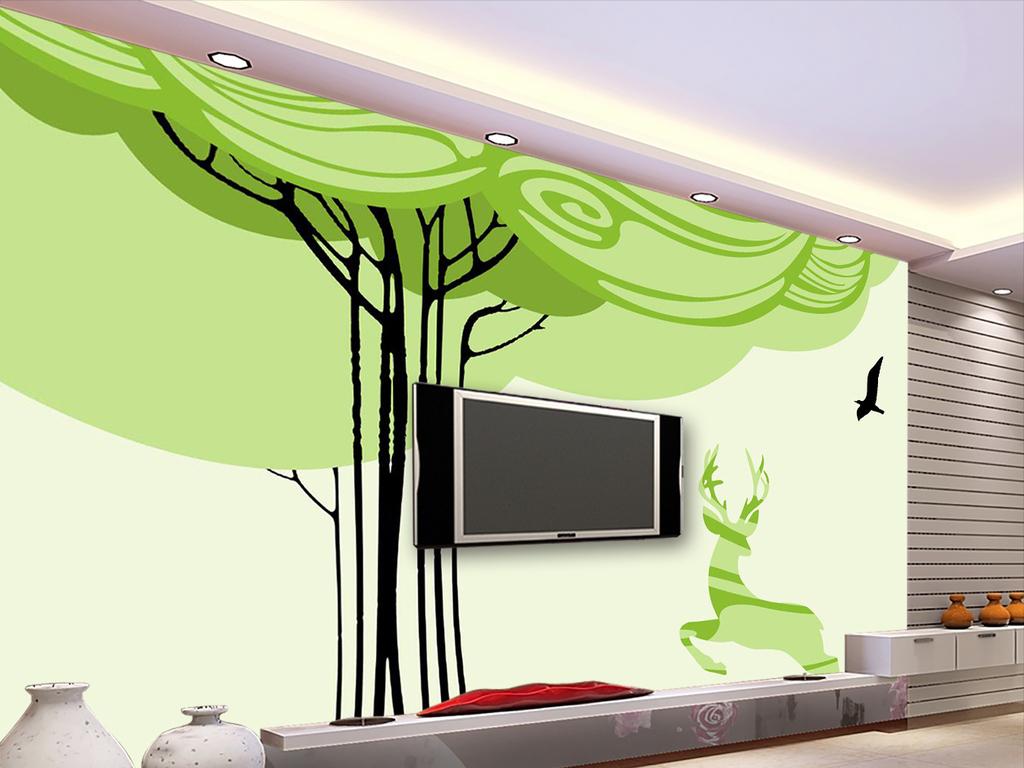 手绘抽象现代简约电视背景墙