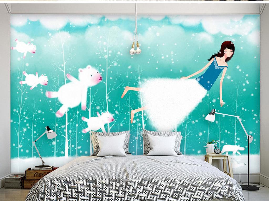 懒洋洋慢节奏卡通韩国手绘客厅电视背景墙