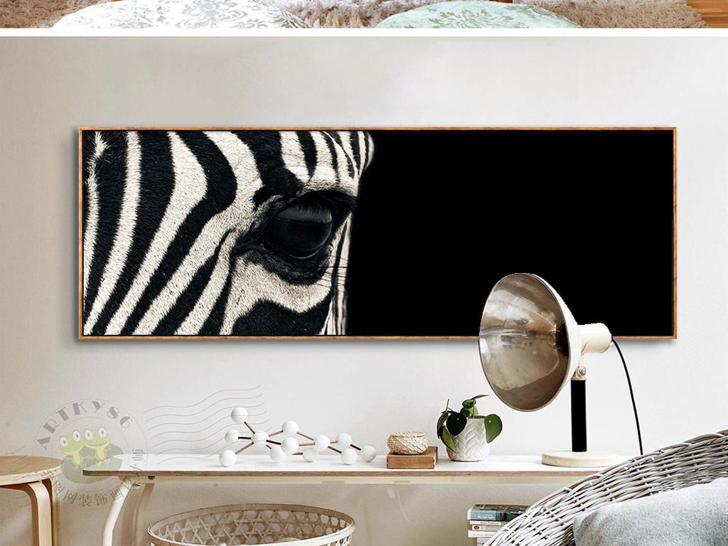 黑白艺术摄影斑马头部特写动物摄影床头画