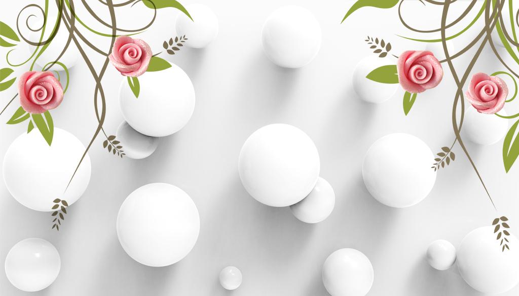 3d立体圆圈花纹玫瑰花简约现代背景墙