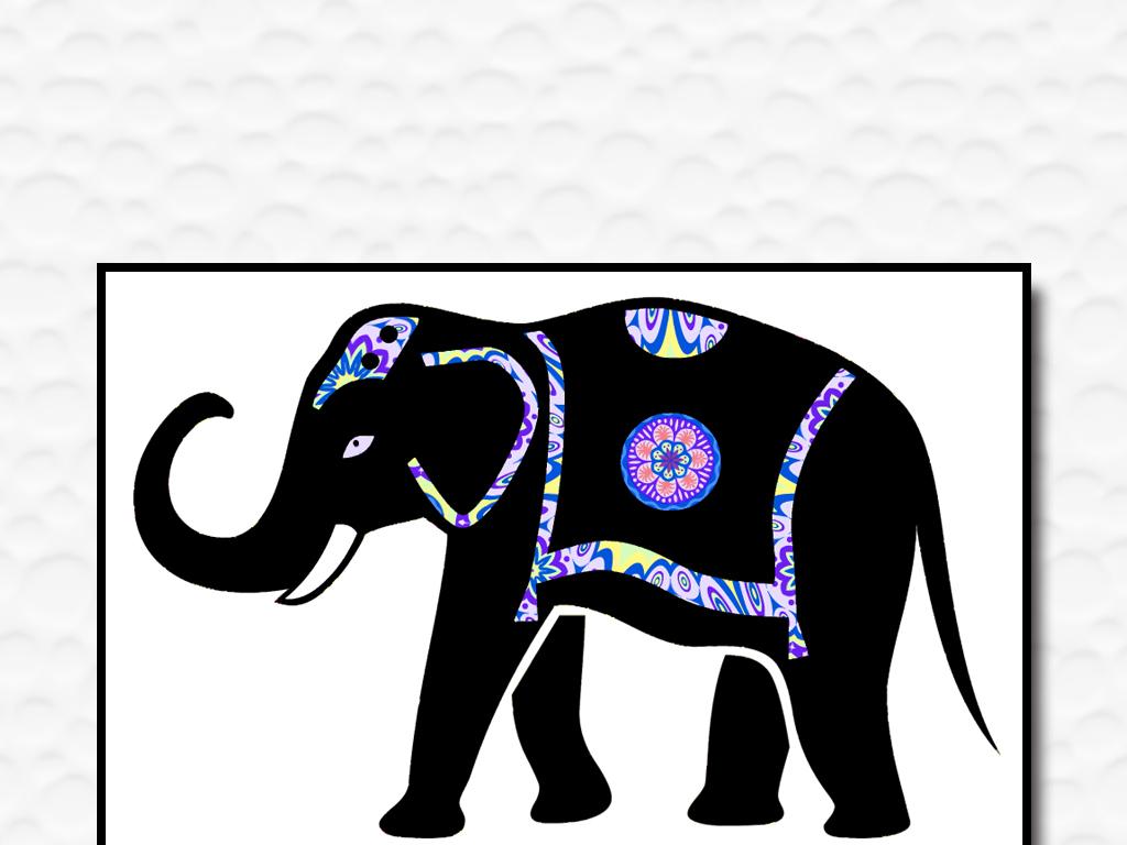 东南亚泰国手绘可爱卡通大象矢量欧美装饰画