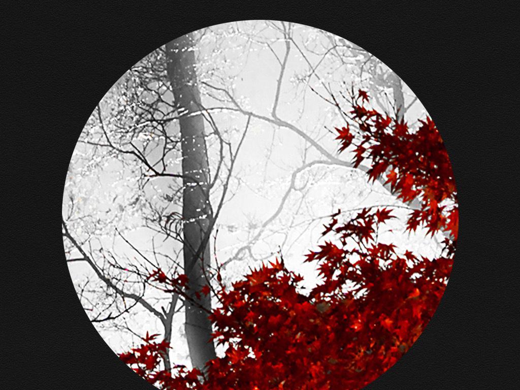 现代简约黑白树枝枫叶装饰画