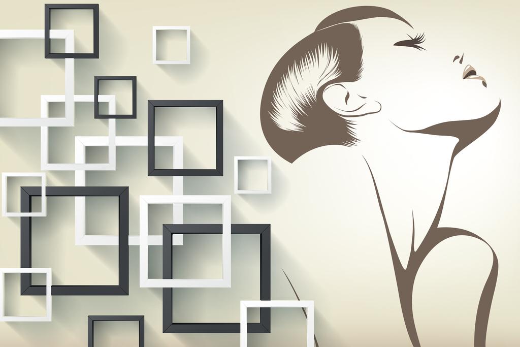 手绘简约欧式欧美美女方框电视背景墙壁画