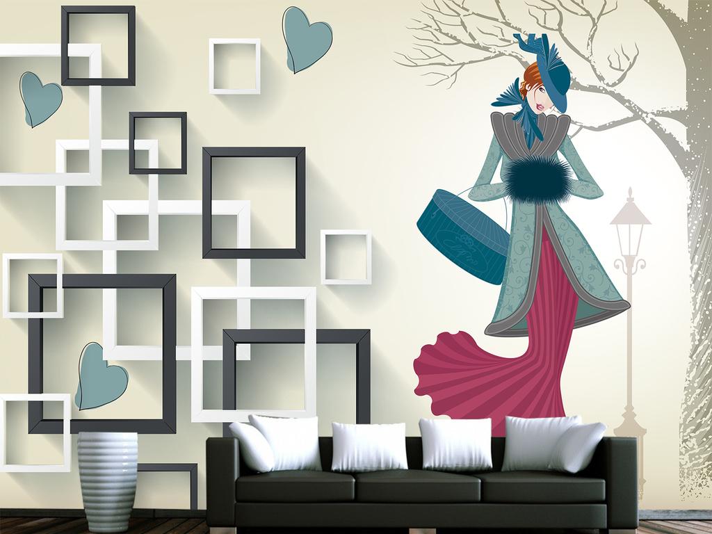 时尚简约欧式唯美美女方框电视背景墙壁画