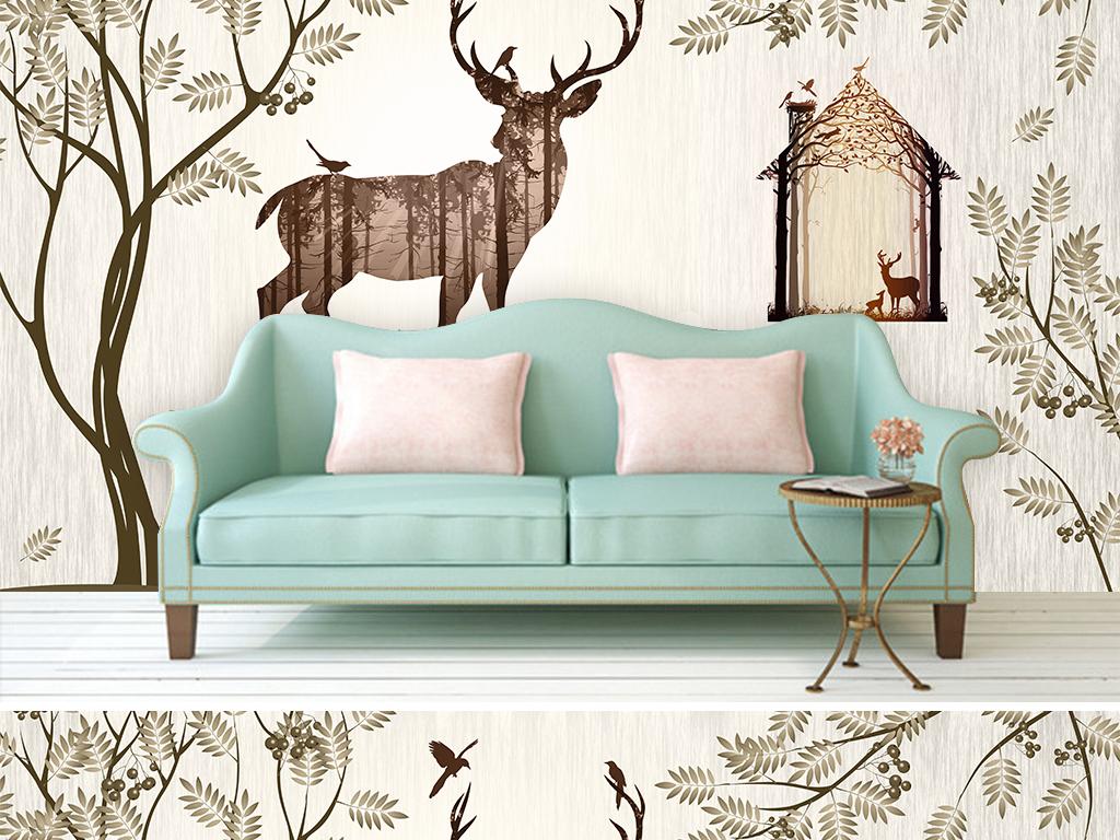 北欧森林麋鹿抽象美式田园客厅沙发背景墙图片