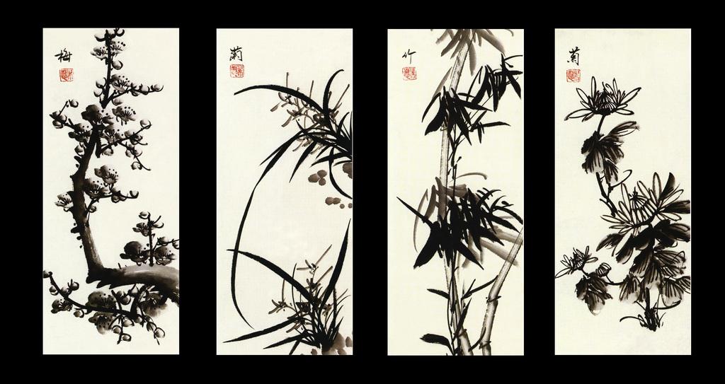 代梅兰竹菊四联手绘水墨国画背景墙效果图 15083597 中式电视背景