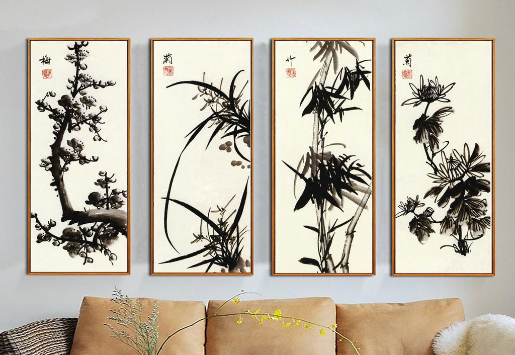 夏天现代梅兰竹菊四联手绘水墨国画背景墙