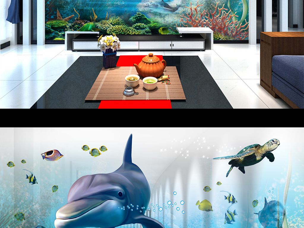 3D立体海底世界海豚电视背景墙装饰画效果图 15083744 3D电视背景