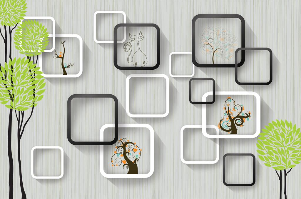 3D方块树林小猫背景墙图片下载