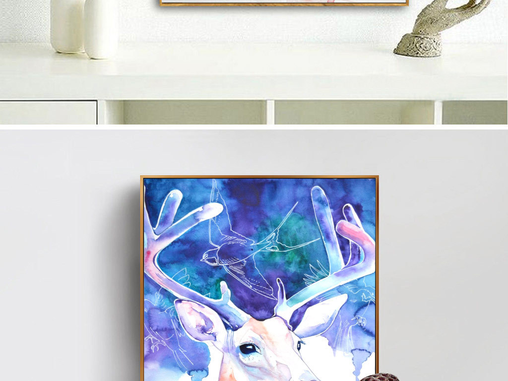 欧式创意手绘麋鹿小鸟无框画