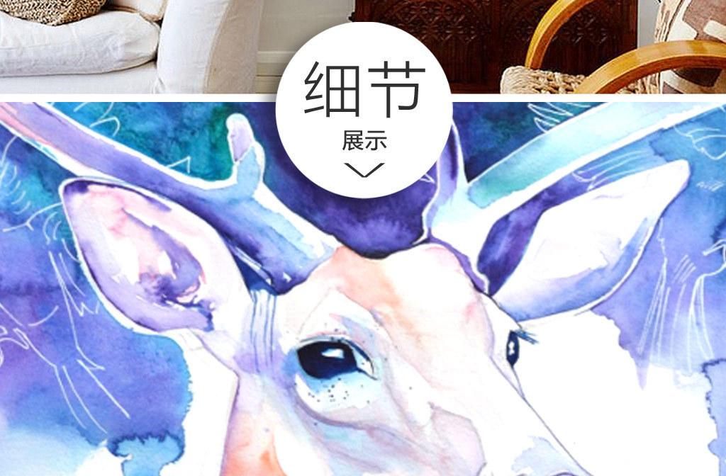 欧式创意                                 麋鹿小鸟麋鹿手绘