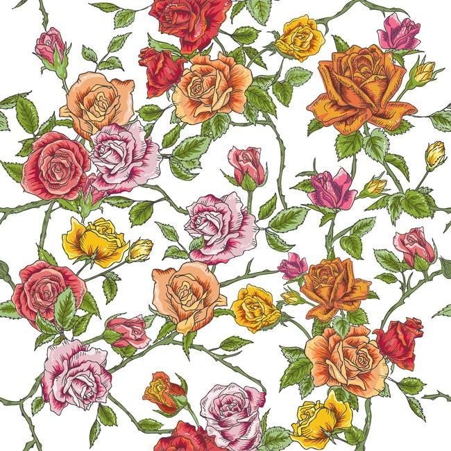 女士长裙复古手绘玫瑰花丛无缝矢量印花图案