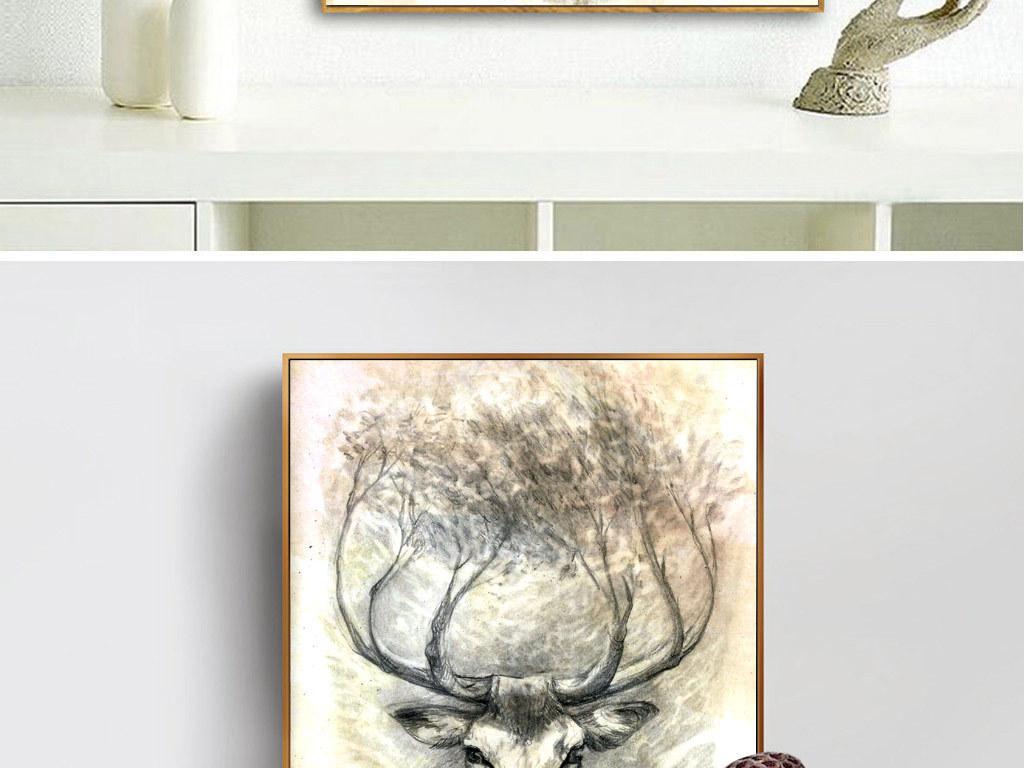 欧式创意手绘麋鹿无框画