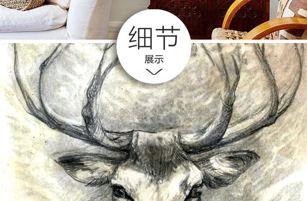 欧式创意手绘麋鹿无框画(图片编号:15085790)