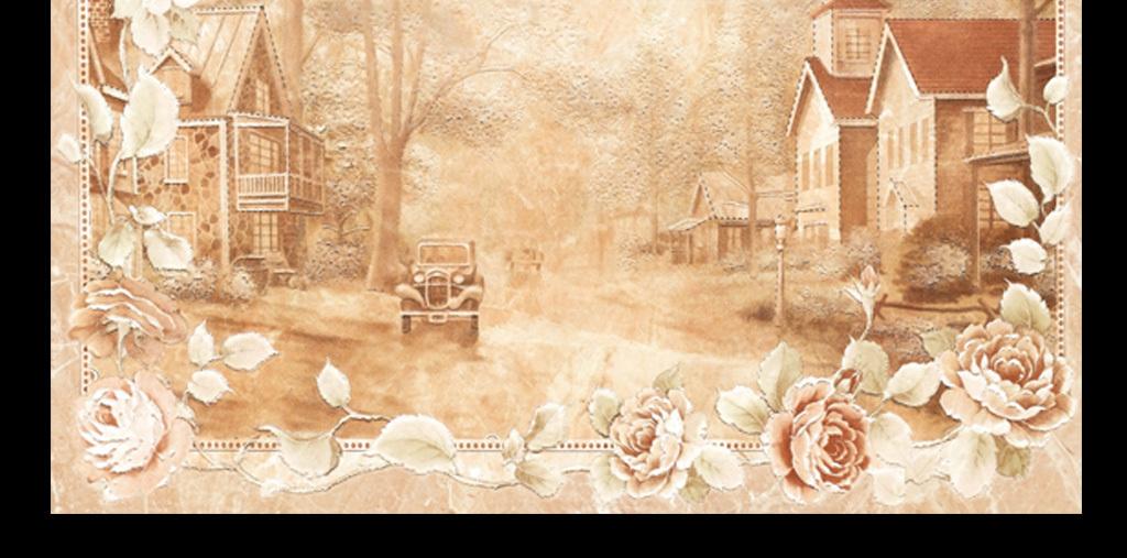 欧洲风情手绘浪漫背景墙