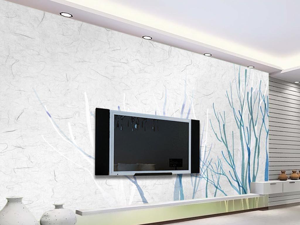 小清新现代简约手绘树枝枝桠电视背景墙