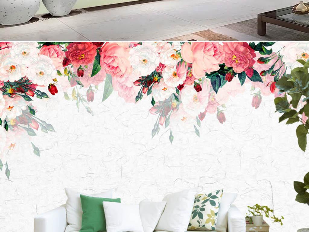 小清新现代简约手绘玫瑰花蔷薇电视背景墙