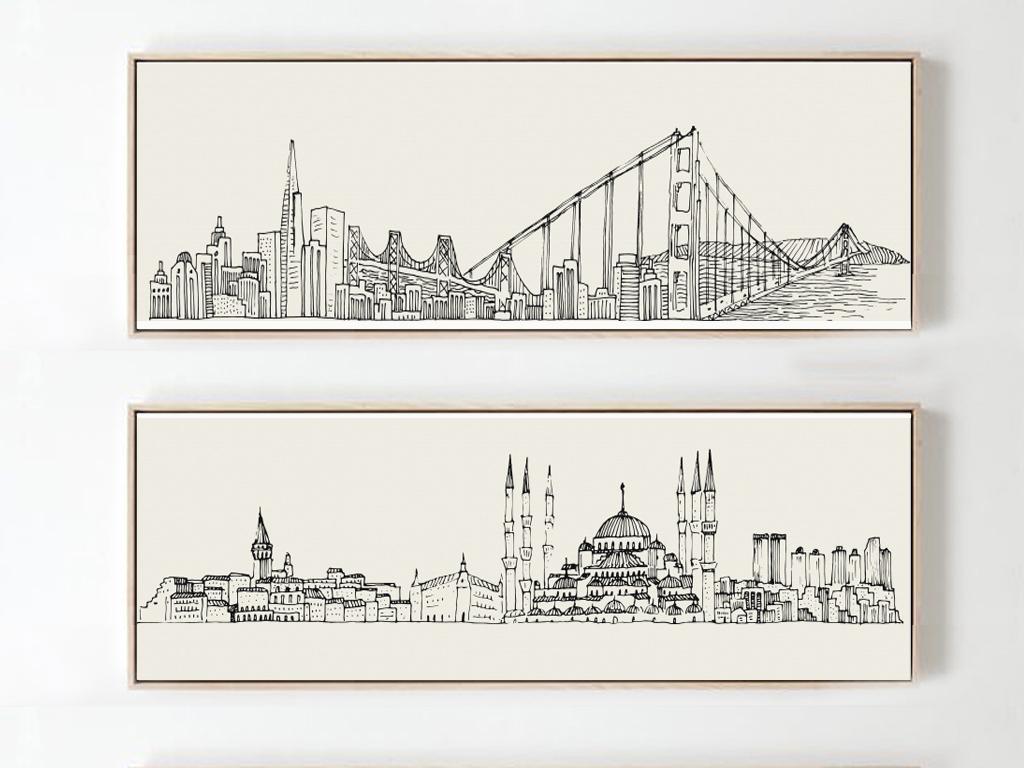 北欧现代简约手绘城市建筑