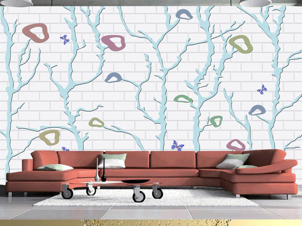背景墙|装饰画 电视背景墙 欧式电视背景墙 > 3d墙砖手绘抽象树  版权