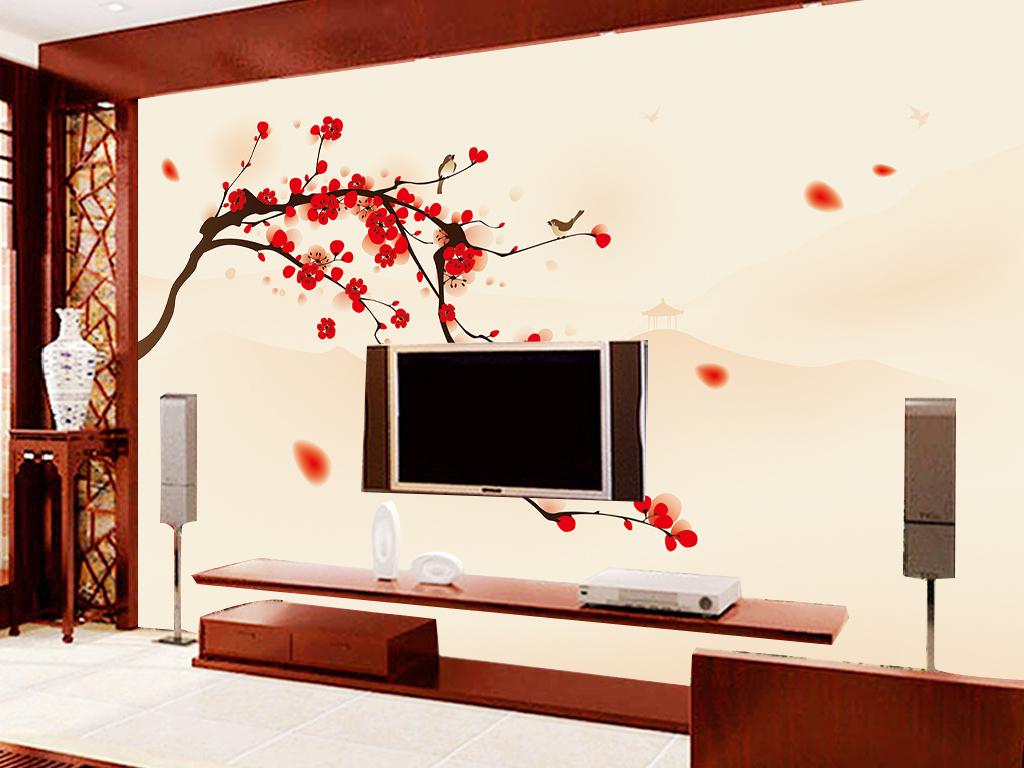 背景墙|装饰画 电视背景墙 中式电视背景墙 > 手绘梅花花瓣红梅花开